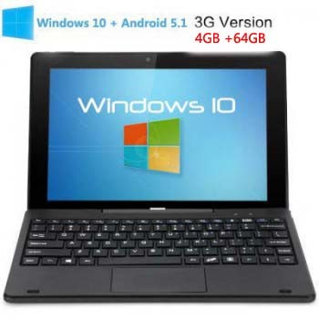 PiPO W1S 3G Windows 10 + Android 5.1 4GB 64GB Tablet PC 10.1 inch 1920*1200 HDMI Black