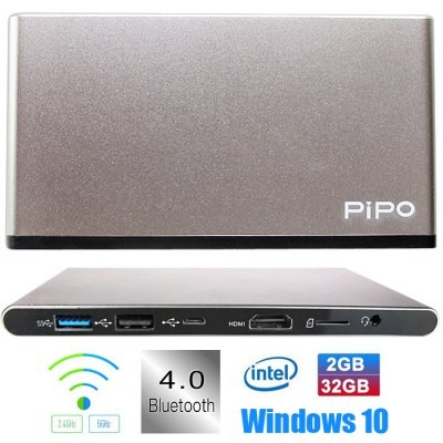 PiPo X7 Pro TV Box Windows 10 Intel Cherry Trail Z8300 2GB 32GB Mini PC Dual WIFI Bluetooth Silver & Gray