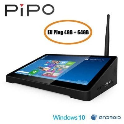 PiPo X9S 8.9 Inch Mini PC Dual Boot TV Box 4GB 64GB Intel Z8350 802.11b/g/n LAN BT4.0 HDMI - EU PLUG