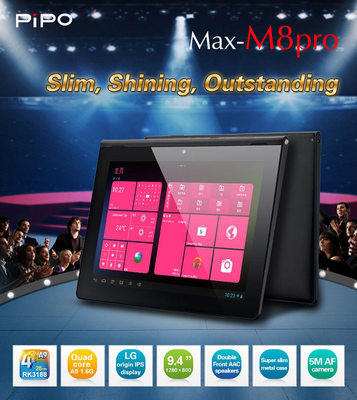 PIPO M8Pro 3G WCDMA Tablet PC RK3188 Quad Core Bluetooth 9 4 Inch IPS RAM  2GB