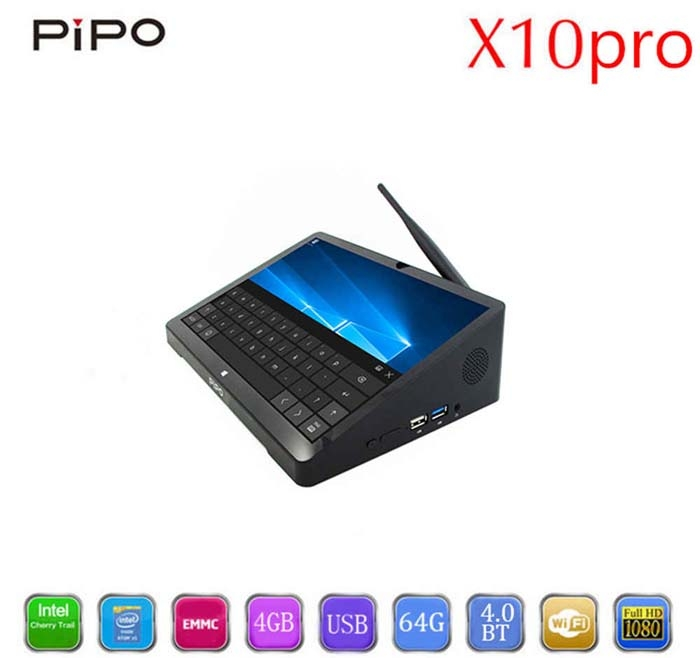 PiPO X10 Pro TV Box 10 8 Inch Mini PC Windows 10 & Android 5 1 Intel Cherry  Trail Z8350 4GB 64GB HDMI